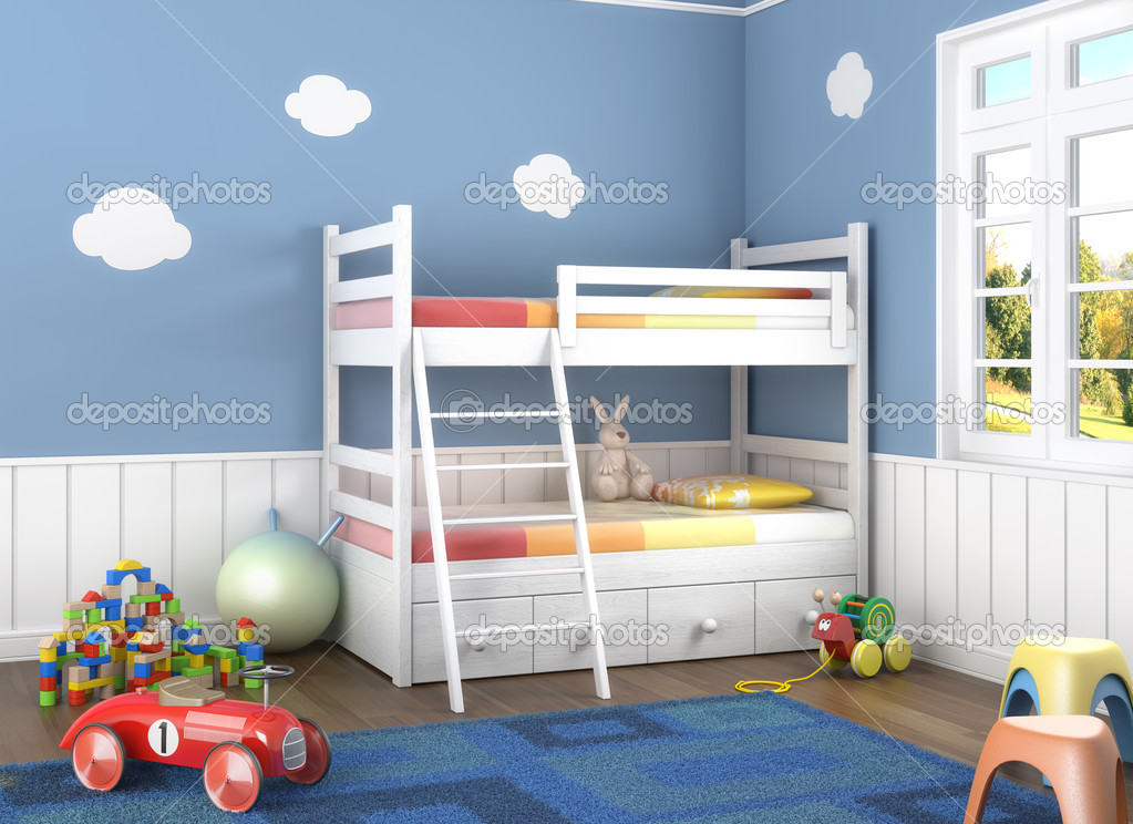 blue children s room with toys stockfoto arquiplay77 8208088. Black Bedroom Furniture Sets. Home Design Ideas