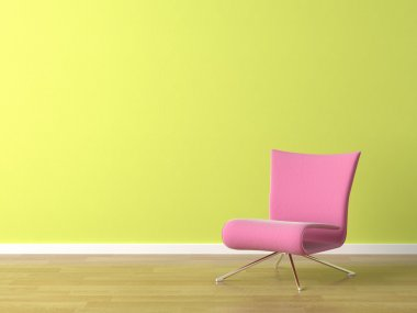Interior scene of pink modern chair on a green wall stock vector