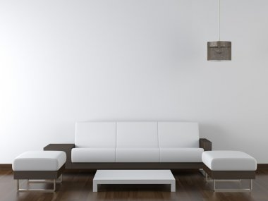 Interior design modern white furniture on white wall