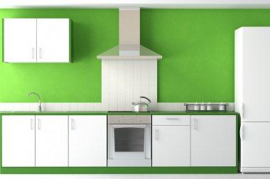 Interior design of modern green kitchen