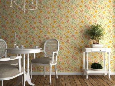 Flowery wallpaper interior