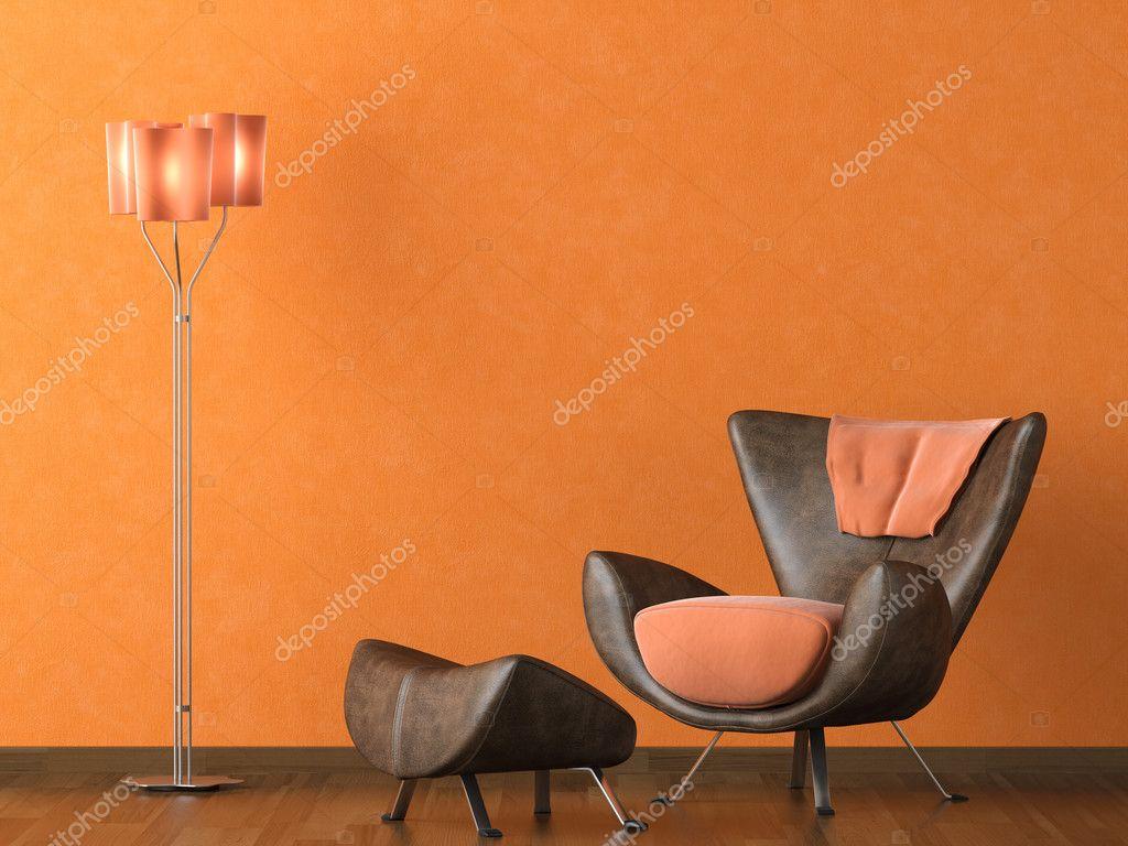 Leren Bank Oranje.Moderne Lederen Bank Op Oranje Muur Stockfoto C Arquiplay77 8211163