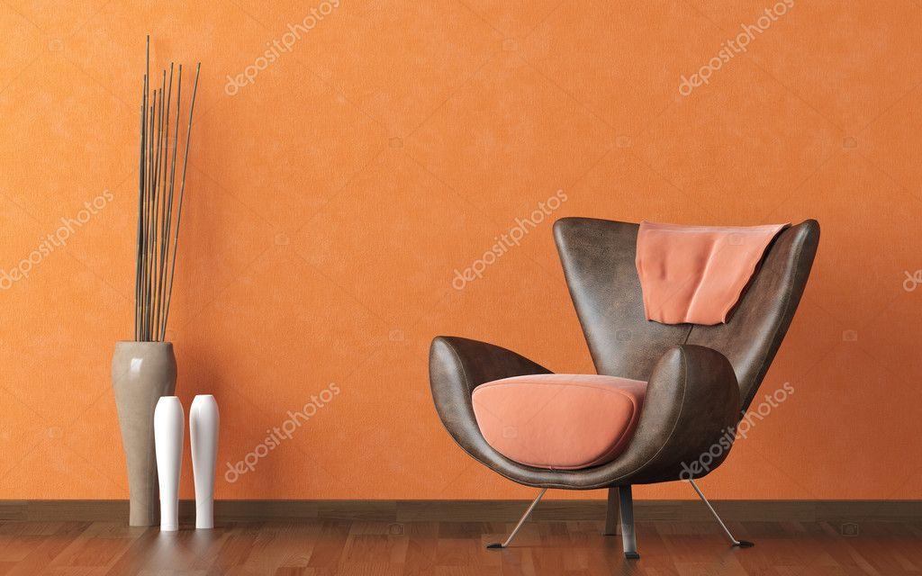 Divano Pelle Arancione : Divano moderno in pelle sulla parete arancione u foto stock