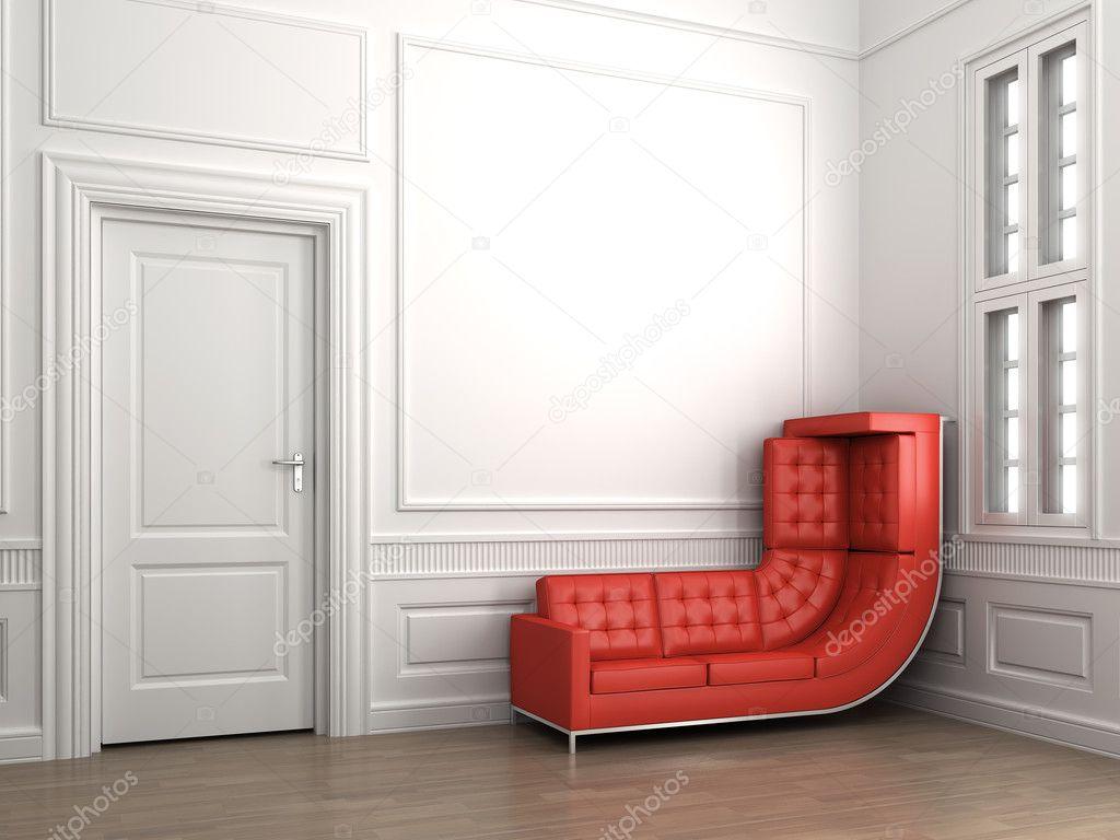 canapé rouge sur chambre blanc classique — Photo #8212104