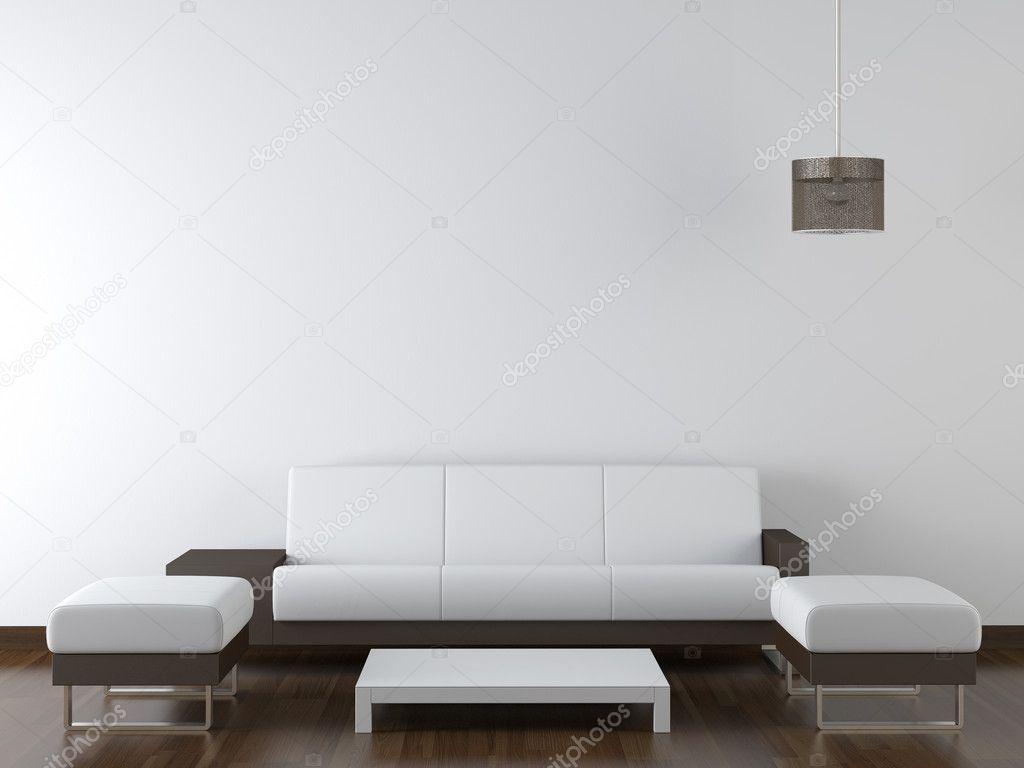 interieur design moderne witte meubels op witte muur — Stockfoto ...