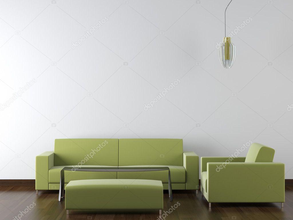 Innenarchitektur Moderne Grüne Möbel Auf Weiße Wand U2014 Stockfoto