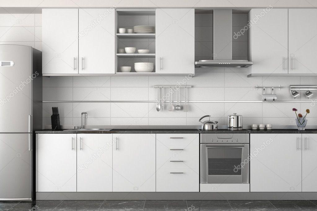 Interieur ontwerp van moderne witte keuken u stockfoto
