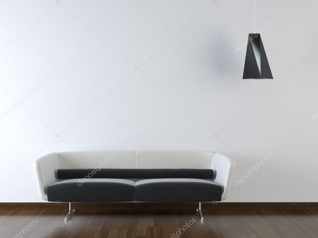 Innenarchitektur, Die Schwarzen Und Weißen Couch Auf Weiße Wand Mit  Ausstehenden Schwarz Lampe U2014 Foto Von Arquiplay77 Pictures Gallery