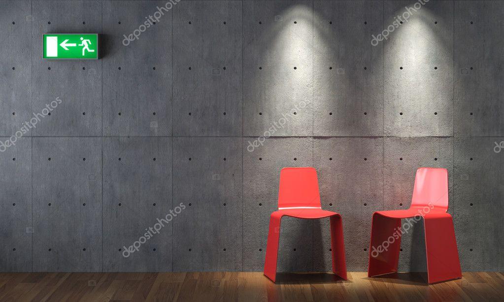 콘크리트 벽에 인테리어 디자인 현대 레드 cahirs — 스톡 사진 ...