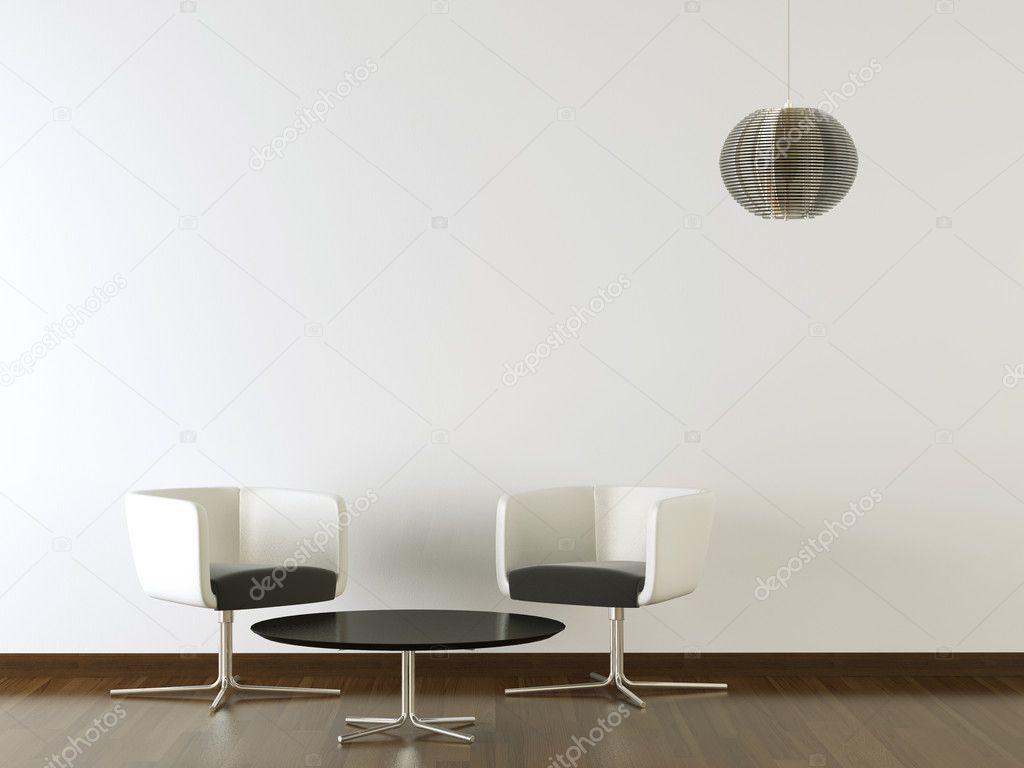 Interior Design Schwarz Möbel Auf Weiße Wand U2014 Stockfoto