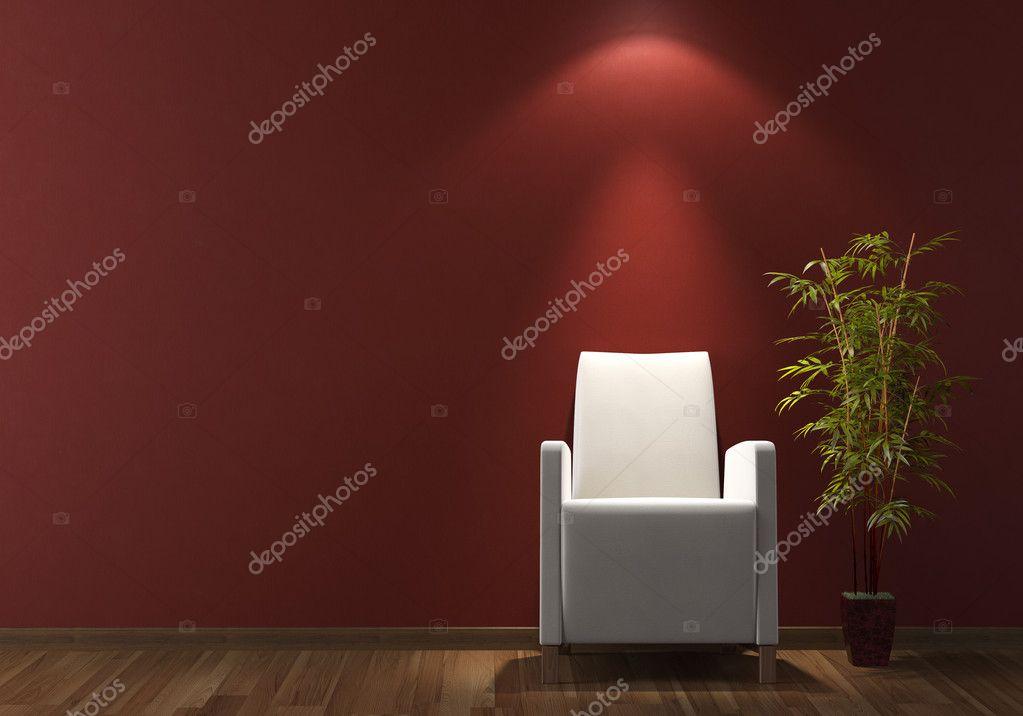 Pareti Bordeaux E Beige : Poltrona design interior bianco sulla parete bordeaux u2014 foto stock