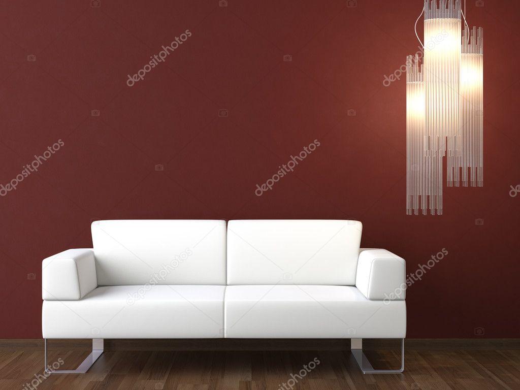 Design Luie Stoel.Interieur Design Witte Luie Stoel Op Bordeaux Muur Stockfoto