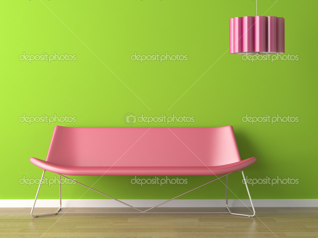 Interior design of vibrant green wall with fuxia couch and lamp