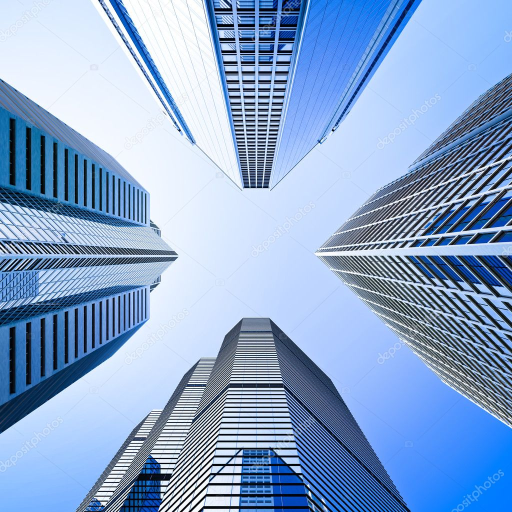Low Angle Photography Of Building Free Stock Photo: Blue Highrise Glass Skyscraper Intersection Low Angle Shot