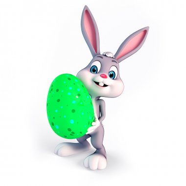Easter bunny with Green Egg
