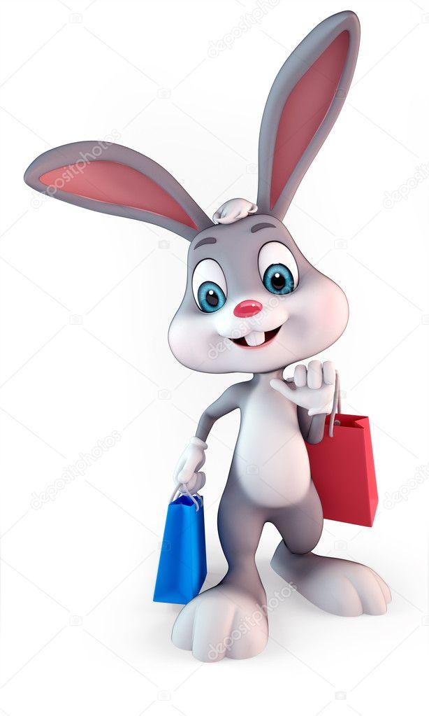 764175a28ab 3D τετηγμένα εικόνα της ένα χαριτωμένο λαγουδάκι του Πάσχα με τσάντες  αγορών — Εικόνα από ...