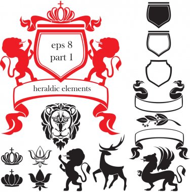 Set of heraldic silhouettes elements