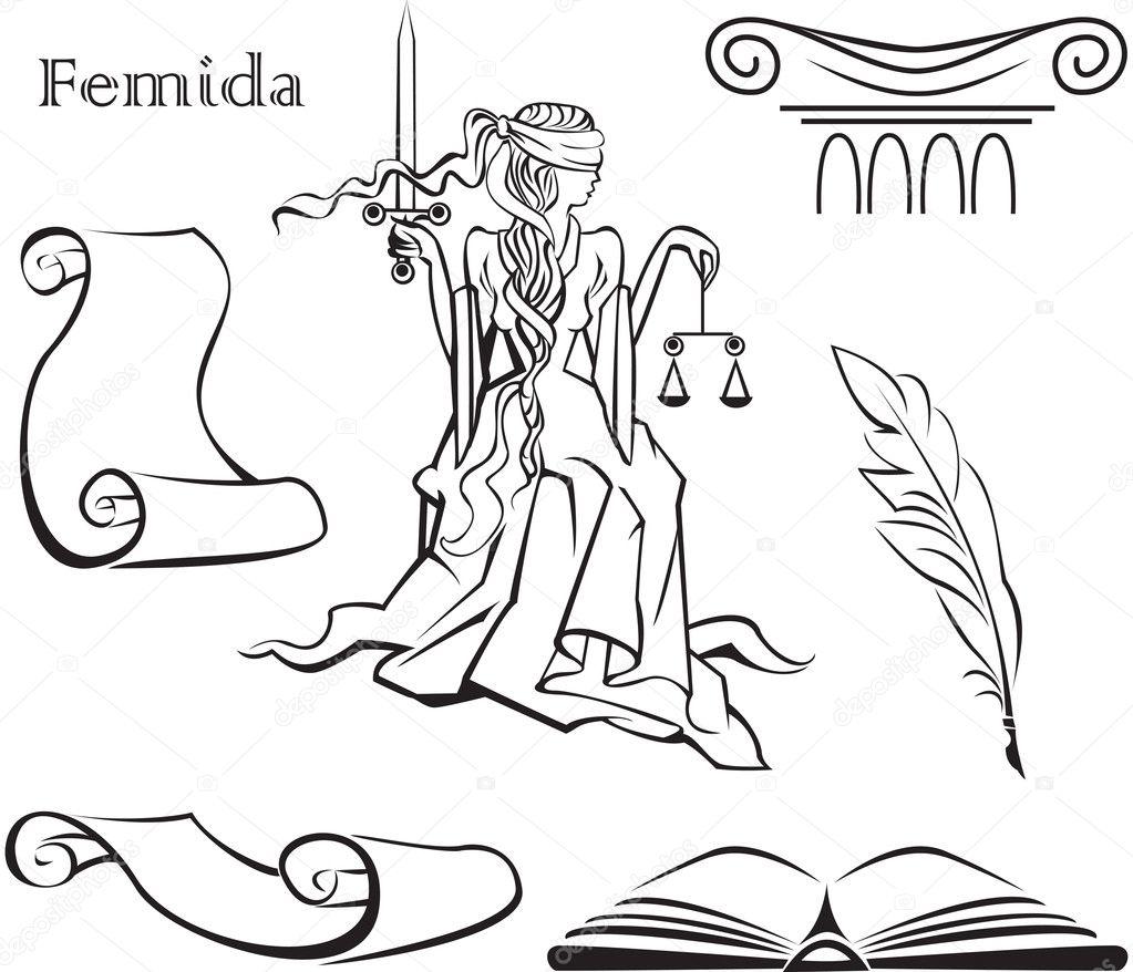 Simbolo De La Justicia Para Colorear Conjunto De Símbolos De La
