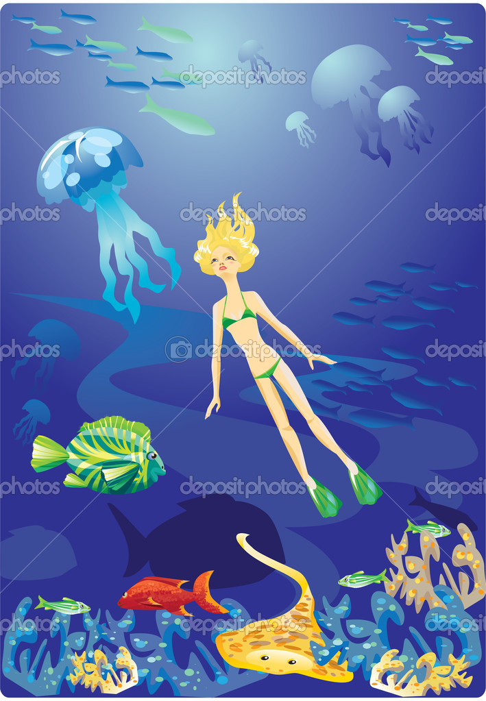 Diving in Red Sea - girl and fishes