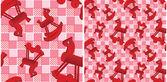 bezešvé vzor s hračkami červené koně na kontrolované růžové pozadí