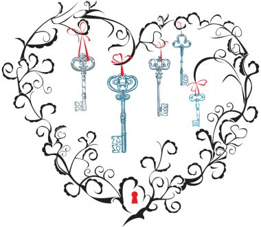Concept for Valentine`s Day - heart, keyhole and keys.