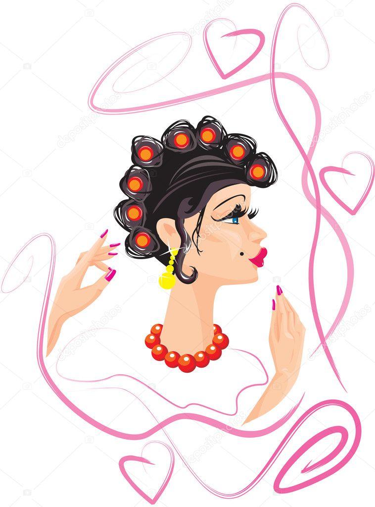 Cartone animato divertente donna con bigodini — vettoriali