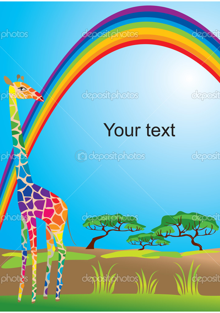 Portrait border with rainbow and giraffe