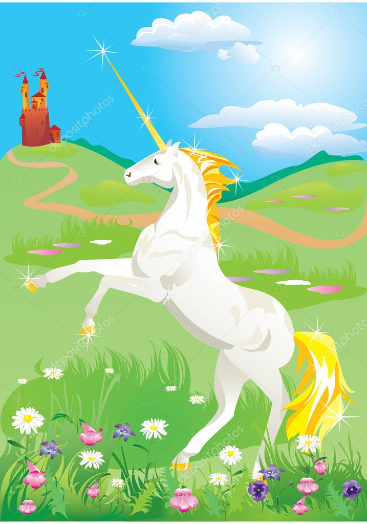White unicorn rearing up on its hind legs on beautiful meadow with wild flo