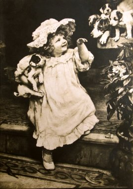 Vintage postcard of a little girl with dogs, circa 1884.