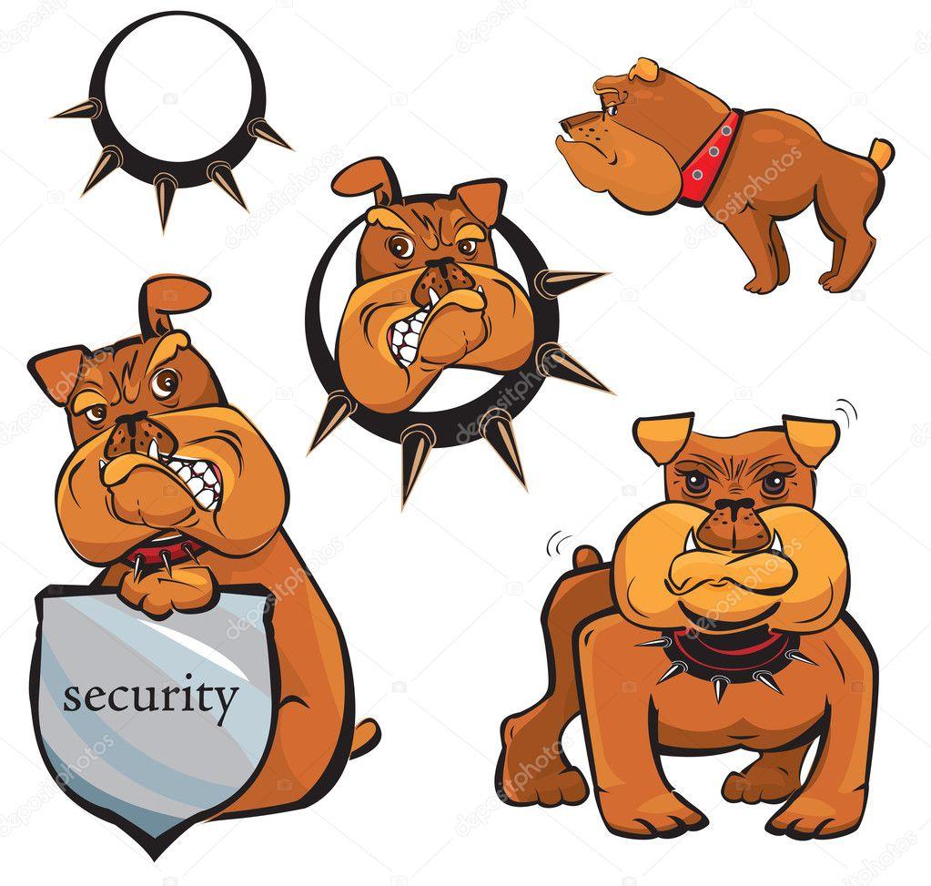 Set of Bulldog cartoons