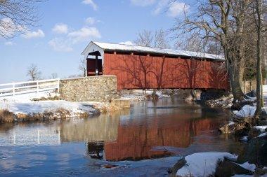 Covered Bridge with Snow