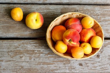 Juicy peaches and apricots