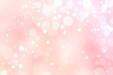 Pink Bokeh Background, White Circle and Star Lights stock vector