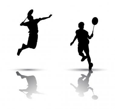 Badminton players silhouette