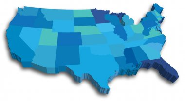 An US State map in Blue 3D tones stock vector