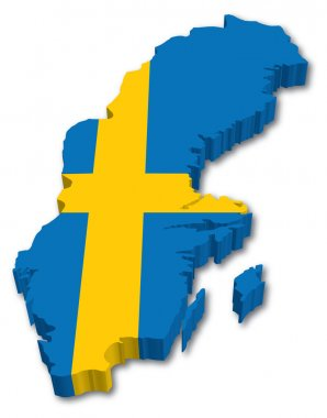 3D Sweden map with flag