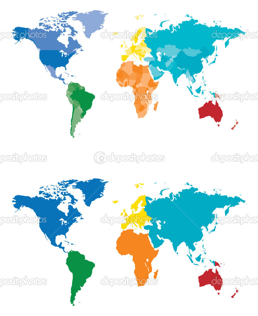 Color continent and country map stock vector tangducminh 10562587 color continent and country map stock vector 10562587 gumiabroncs Images