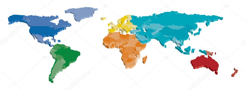 3d color continent and country map stock vector tangducminh 3d color continent and country map stock vector 10562598 gumiabroncs Images