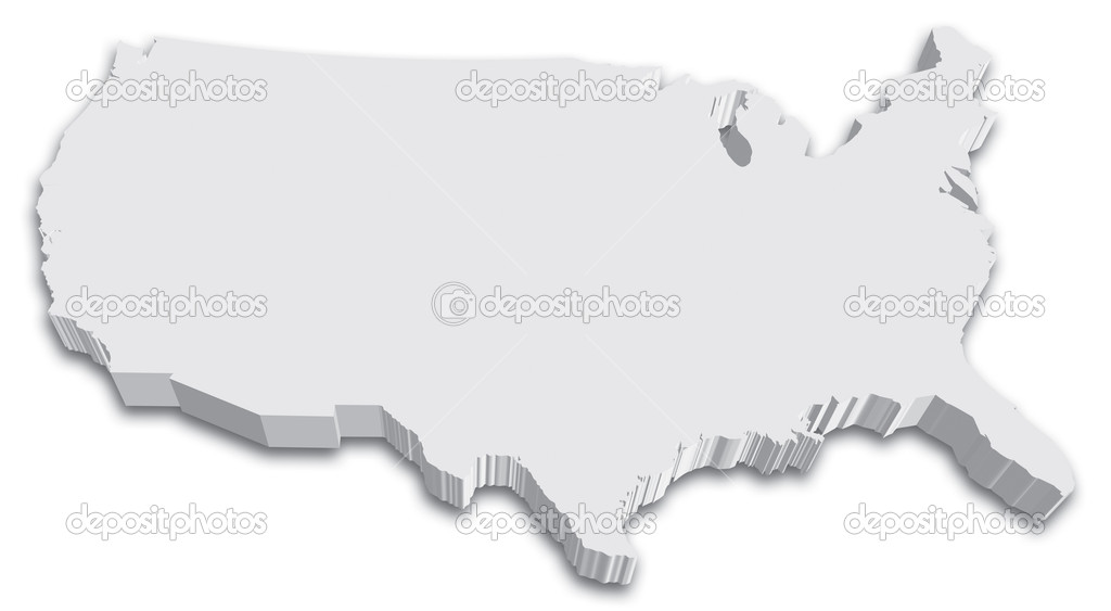 Black White D USA State Map Stock Vector Tangducminh - Black and white usa map