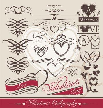 Calligraphic design elements for Valentine's Day