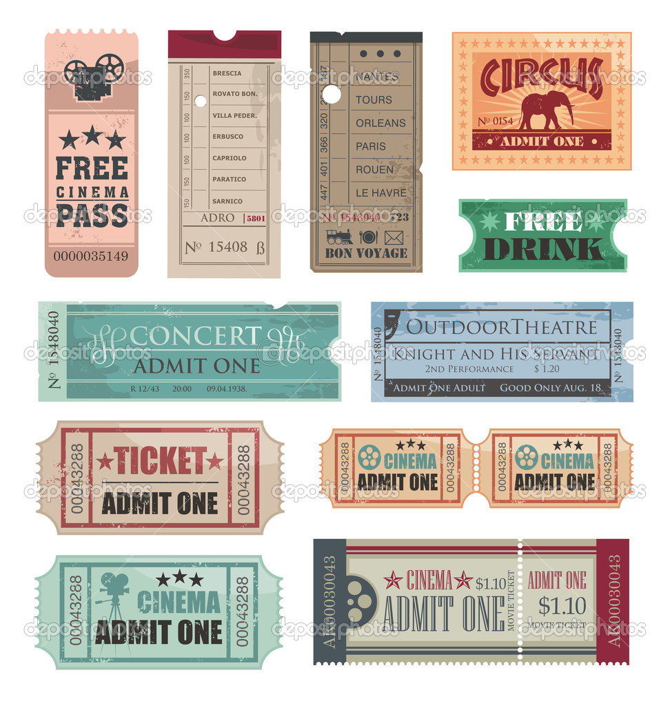 Collection of vintage tickets stock vector