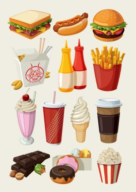 Set of colorful cartoon fast food icons. Isolated vector. stock vector