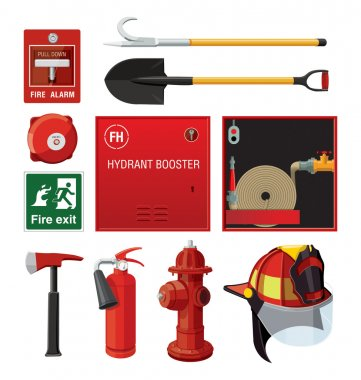 Set of firefighting equipment.