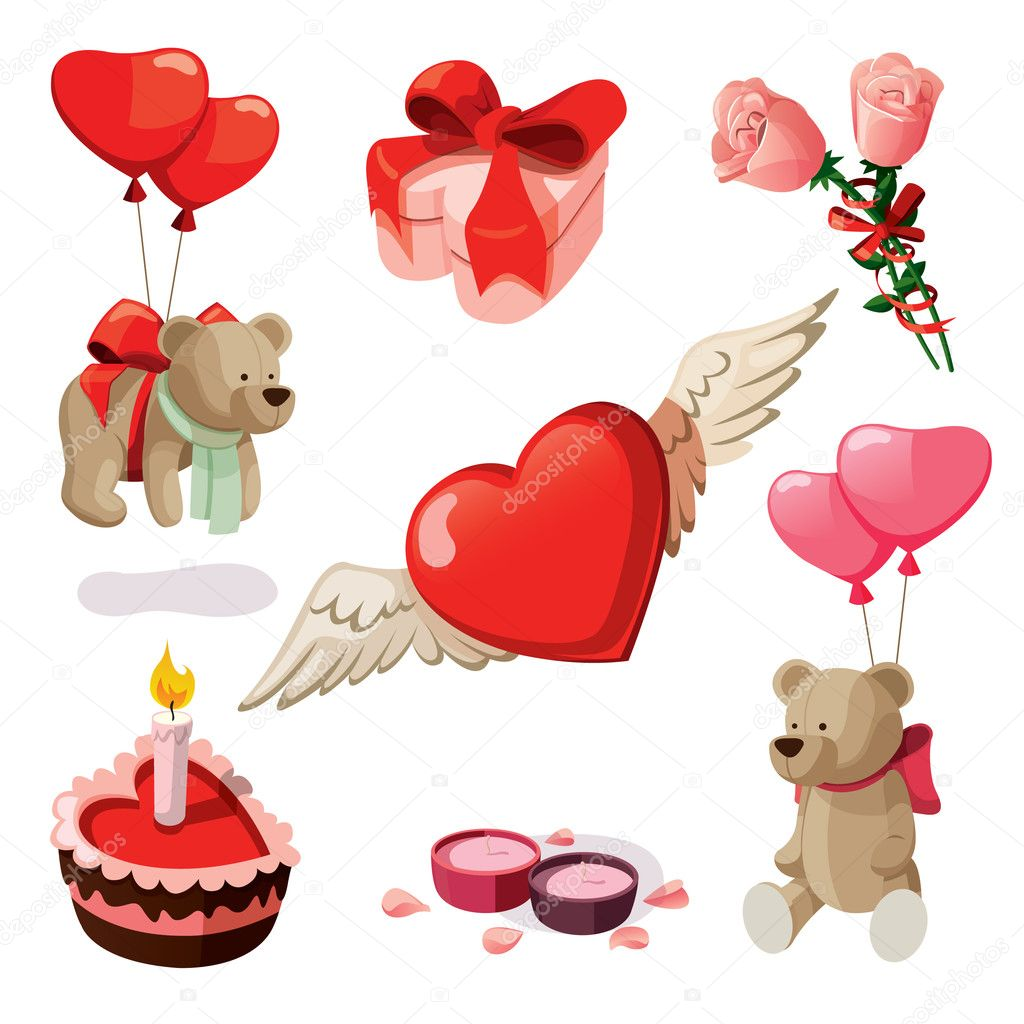 Set of elements for st. Valentine's day. Isolated on white background. clipart vector