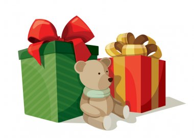 Two boxes of presents with a teddy bear