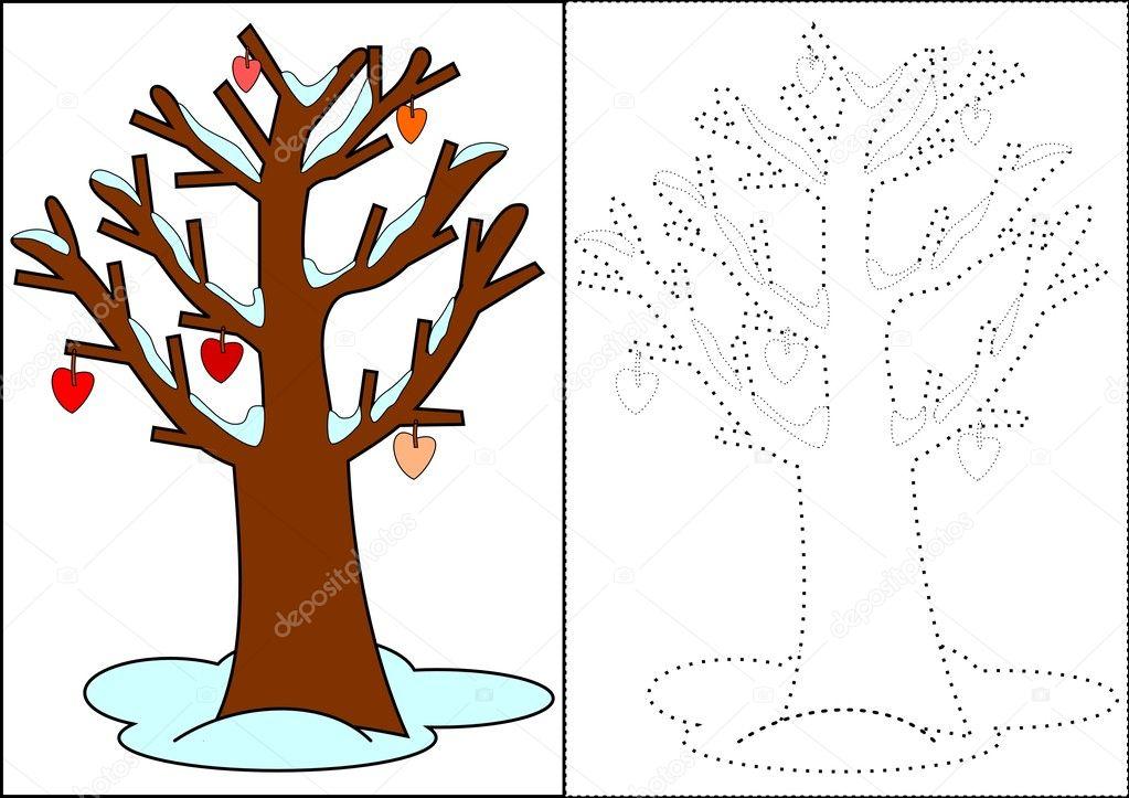 para colorear - árbol de invierno — Fotos de Stock © petr73 #8293778