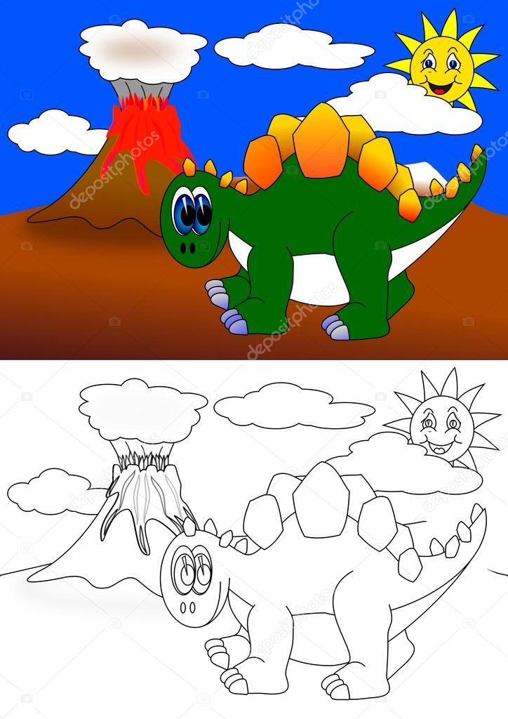 dinosaurio - libro para colorear — Foto de stock © petr73 #8835119