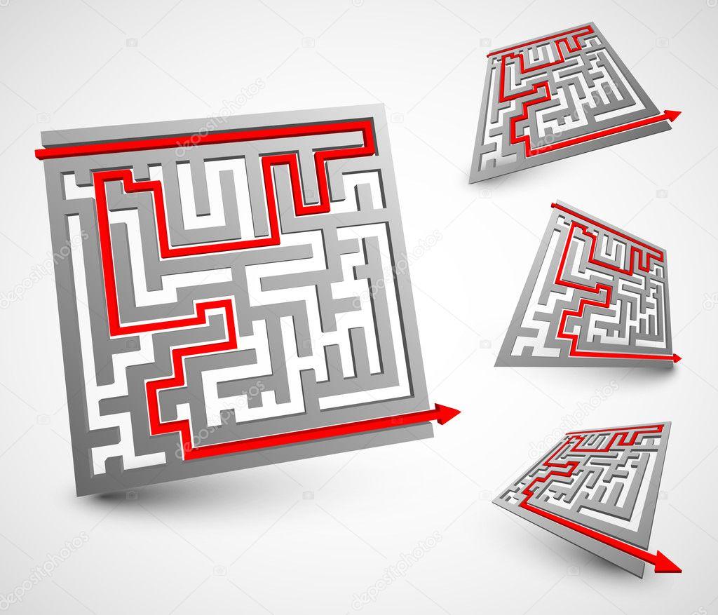 Juegos De Laberintos 3d Para Ninos Laberintos 3d Vector De Stock