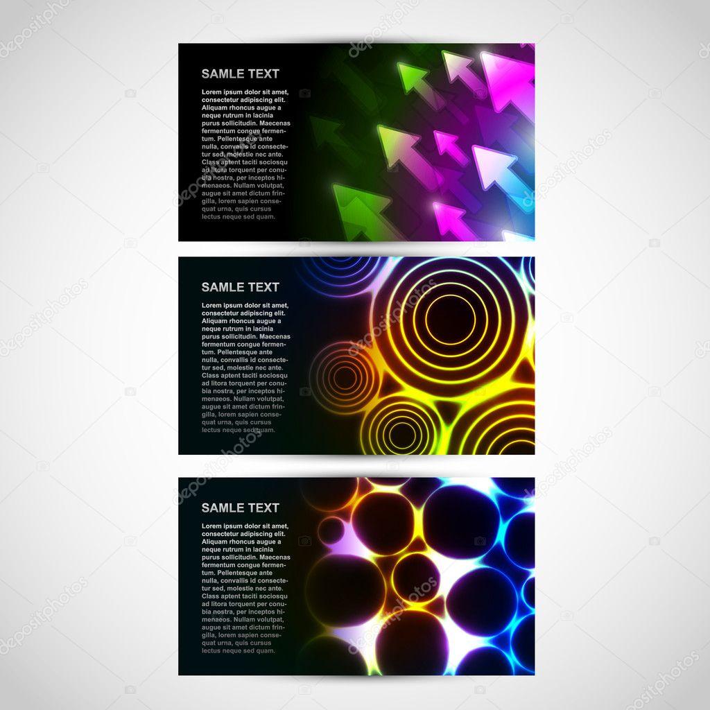 Wizytówki Z Neon Abstrakcyjne Motywy Grafika Wektorowa