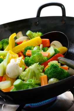 Cook vegetables in a chinese wok